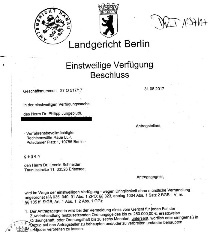 Berlin court grants Jungebluth new injunction against my reporting