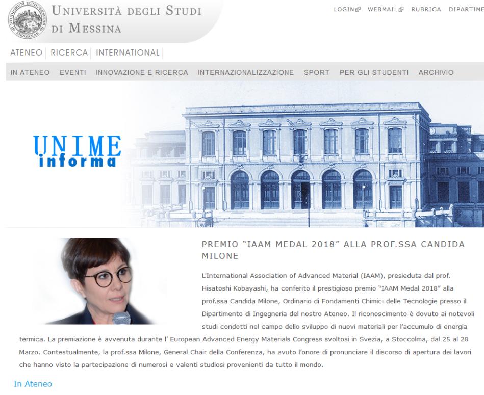 """Screenshot-2018-4-20 Premio """"IAAM Medal 2018"""" alla prof ssa Candida Milone Universita' degli Studi di Messina"""