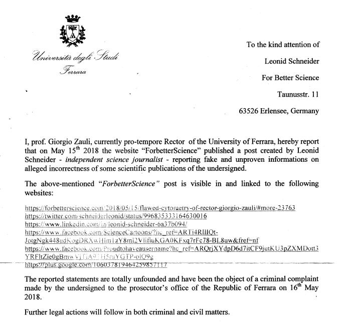 Zauli and University of Ferrara announce libel suit, criminal prosecution againstme