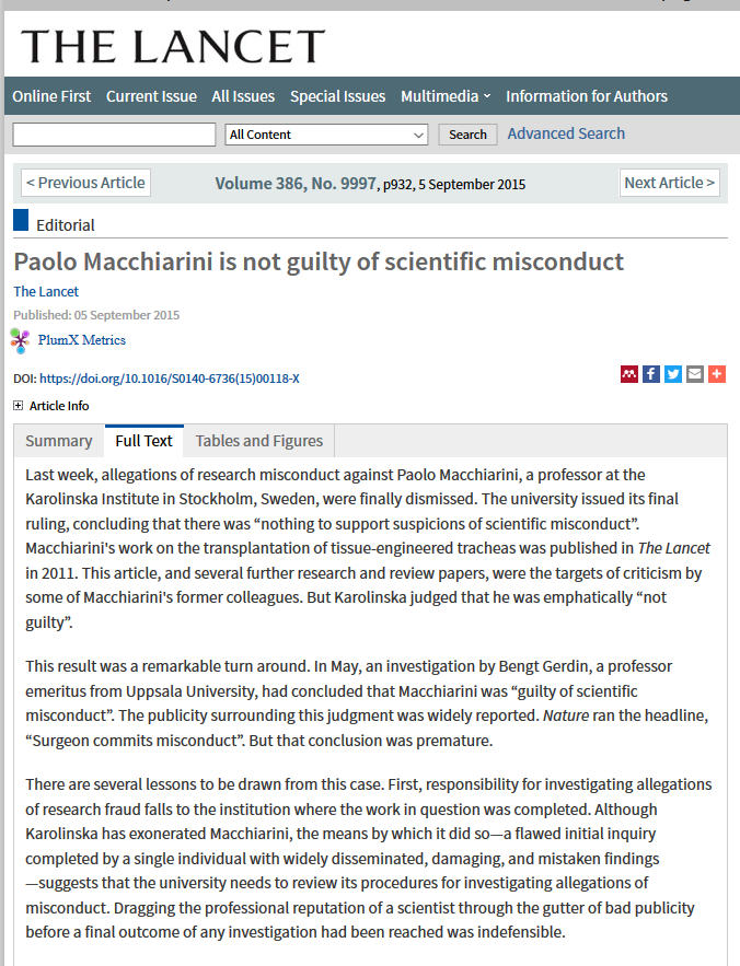 Karolinska requests retraction of Macchiarini and Jungebluth papers
