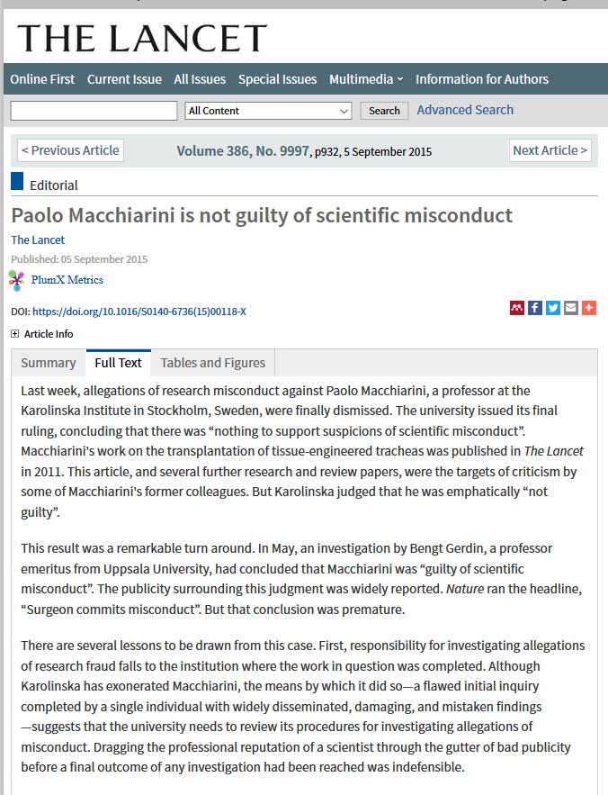 Karolinska requests retraction of Macchiarini and Jungebluthpapers