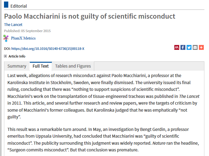 Screenshot-2018-6-7 Paolo Macchiarini is not guilty of scientific misconduct