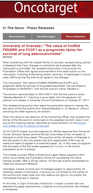 Screenshot_2019-07-26 Oncotarget In The News - Press Releases